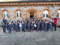 Sam Maguire and Brendan Martin visit Central Model Infants